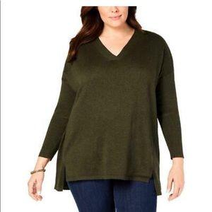 Style & Co Dark Olive Green V Neck Sweater 1X 2X